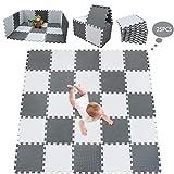 meiqicool Tapis de Jeu Puzzle Tapis de Jeu en Mousse de Tapis de Puzzle Tapis Enfants 25 Pièce Blanc Noir Gris