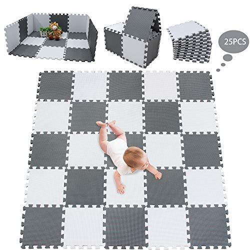 meiqicool Stylische Puzzlematte für Babys und Kinder | 1cm Dicker Spielmatte | Schadstofffrei, geruchlos, Formamid geprüft | 25-teilig, 1,42x1,42m Weiß Grau AL