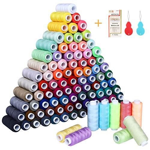 SOLEDI Kit de Costura de Bobinas de 100 Hilos de Colores para Coser, 16 Agujas para Coser y 2 Enhebradores Adecuados para Coser ropa a Mano y a máquina - Acolchado - Bordado - Costura