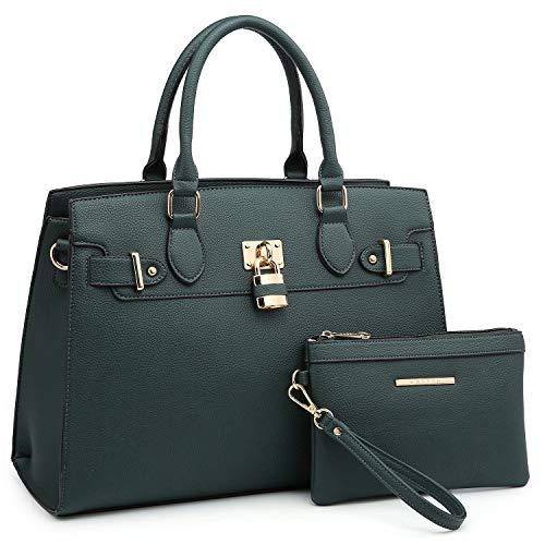 Women Handbags Designer Shoulder Bags Top Handle Satchel Tote Purse for Ladies with Wallet (23- Dark Green)