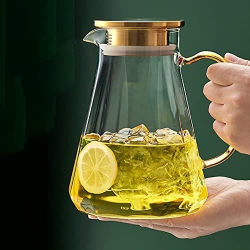 H·Aimee Garrafas Jarra de Vidrio 1.8L con Tapa de Acero Inoxidable 304,Jarra para Agua Fría con Hielo,Agua Caliente,Vino Café Leche Zumo,Jarra de Bebidas