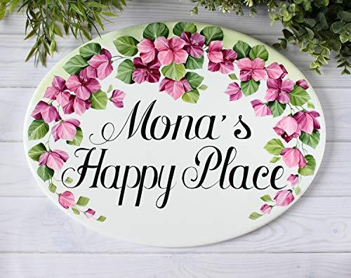 Bougainvillea plaque de maison personnalisée, Plaque d'adresse, My happy place sign en céramique maison signe intérieur cour signe fleurs cottage