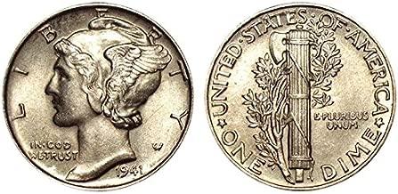 1941 Gem Brilliant Uncirculated Silver Mercury Dime Choice BU