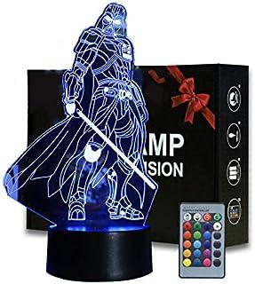 Veilleuse de Darth Vader, Lampe de table 3D Illusion War Star Night Light anime avec télécommande pour chambre d'enfant, é...