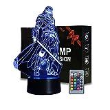 Luces nocturnas 3D Illusion Star Wars para niños, lámpara decorativa que cambia de 16 colores con control remoto e inteligente, regalos de y cumpleaños para fanáticos de Star Wars