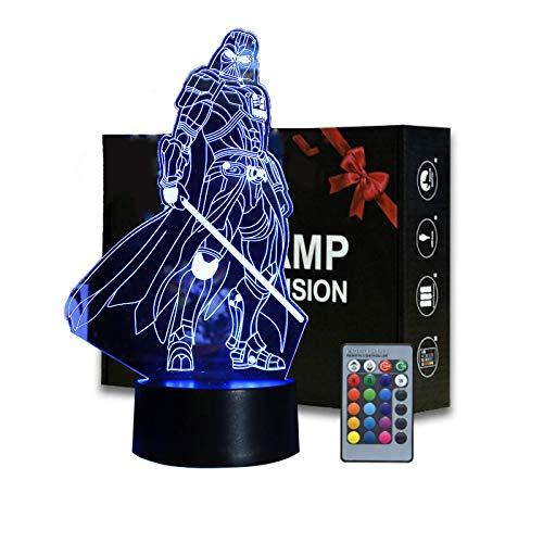 Lampada da tavolo a forma di stella di guerra 3D, lampada da tavolo con telecomando per bambini, decorazione creativa per bambini e fan di Star Wars (Darth Vader)