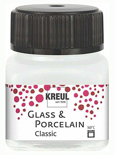 Kreul 16200 - Glass und Porcelain Classic, brillante Glas- und Porzellanmalfarbe auf Wasserbasis, schnelltrocknend, deckend, 20 ml im Glas, cremeweiß