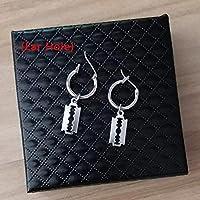 Blade C Fashion Men Punk Earrings Feather Tassel Long Chain Pendant Stainless Steel Stud Earring Unisex Trend Rock Hipster Ear Clip Gift