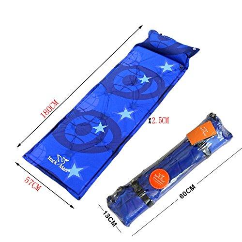 Léger Tapis de sol matelas autogonflant Pad avec taie d'oreiller, bleu