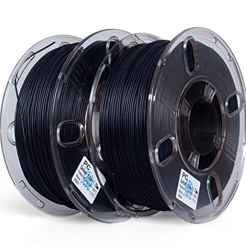 PRILINE Kohlefaser-Polycarbonat, 1 kg, 1,75 mm, 2 Stück, 3D-Drucker-Filament, Maßgenauigkeit +/- 0,03 mm, 1 kg/Spule, 2 kg insgesamt, schwarz