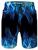 Belovecol Men 3D Realistic Swim Trunks Blue Fire Flame Smoke Prints Board Shorts Quick Dry Mesh Lining Swimming Bathing Suit for Party Beach Holiday Casual Plus Size 3XL