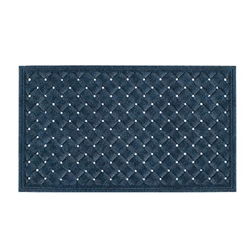"""Welcome Mats for Front Door - Durable Outdoor Indoor Entry Rug Low-Profile Entrance Mat with Durable Non-Slip Rubber Backing for High Traffic Areas (29.5""""x17"""", Dark Blue)"""