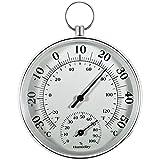 Thermomètre intérieur et extérieur - 10 cm - Sans fil mural - Convient pour les maisons, les serres, les jardins, les voitures, etc. - Sans piles - Gris