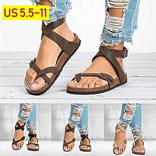 35-44 Summer Beach Women Sandals Bohemia Gladiator Leisure Female Flip Flops Ladies Footwear Casual Sandales Roman Shoes Sandalias(Beige,CN37)