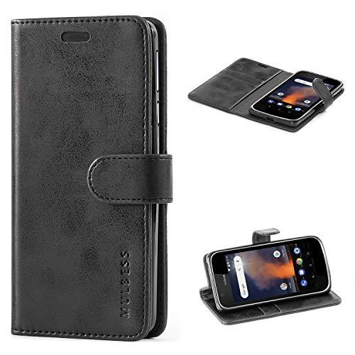 Mulbess Custodia per Nokia 1 Plus, Cover Nokia 1 Plus Pelle, Flip Cover a Libro, Custodia Portafoglio per Nokia 1 Plus, Nero