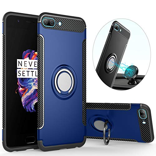 qseel for OnePlus 5/1+5 Ring Armor Case, TPU+PC Hybrid Shockproof Back Cover with Built-in Magnetic Suction Holder, Sturdy Bumper Defender (Blue)