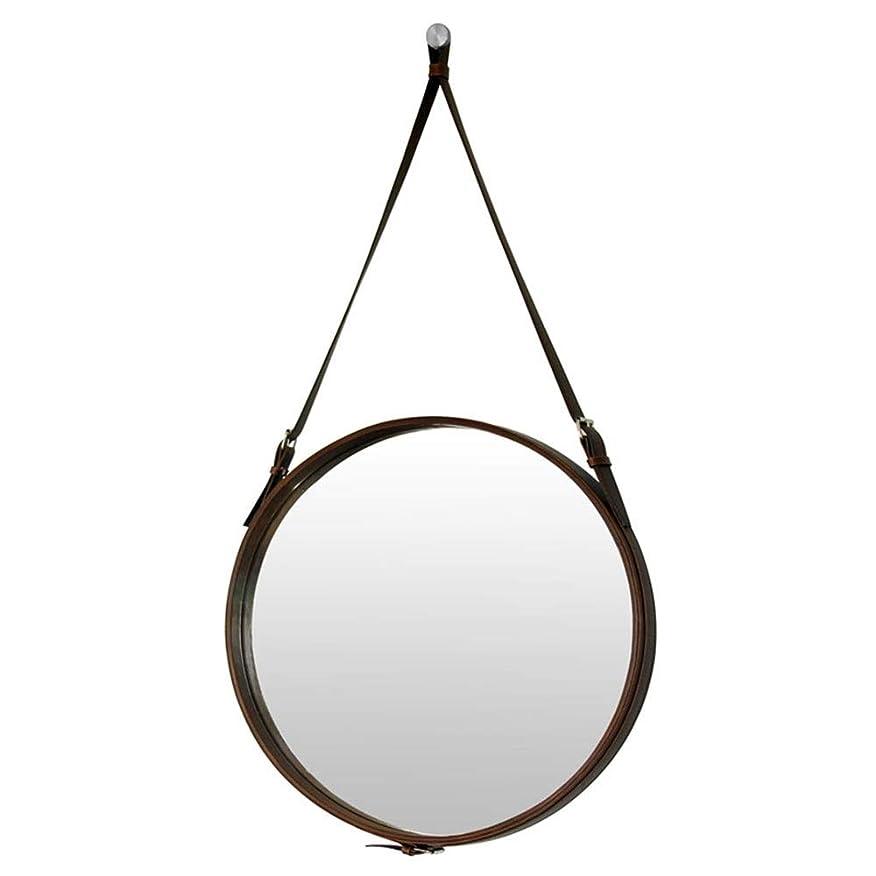 住居ひらめき評判バスルームミラーホテル装飾的なミラーバスルームミラーラウンドウォールミラーバスルームミラー化粧鏡Puレザー