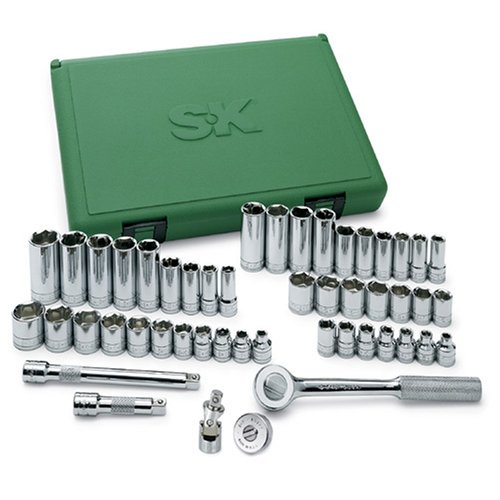 SK Professional Tools 94549 49-Piece 3/8 in. Drive 6-Point Std/Deep Metric Socket Set - Chrome Socket Set with Super Chrome Finish | Set of 49 Sockets Made in USA