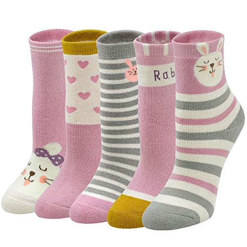LOFIR Dicke Kinder Socken Mädchen Jungen Strümpfe Winter Warme Thermo Kindersocken aus Baumwoll Kleinkind Tiere Muster Socken Bunte Lustige Mädchensocken Größe 24-29, 5 Paare