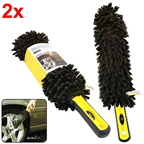 Rovial 2X Dunlop Chenille Microfaser Felgenbürste Felgenreiniger Bürste Auto Waschbürste
