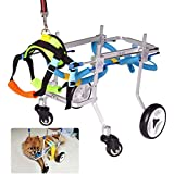 SUNYUEWALLET Four Wheels Adjustable Dog Wheelchair, Fore-Leg Rehabilitation Cart, Paralyzed Pet Walk Assistant, Easy to Assemble, Suitable for pet Rehabilitation
