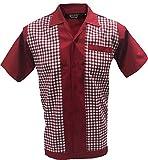 Rockabilly Fashions - Camisa casual para hombre, diseño retro, color rojo burdeos y blanco 3XL