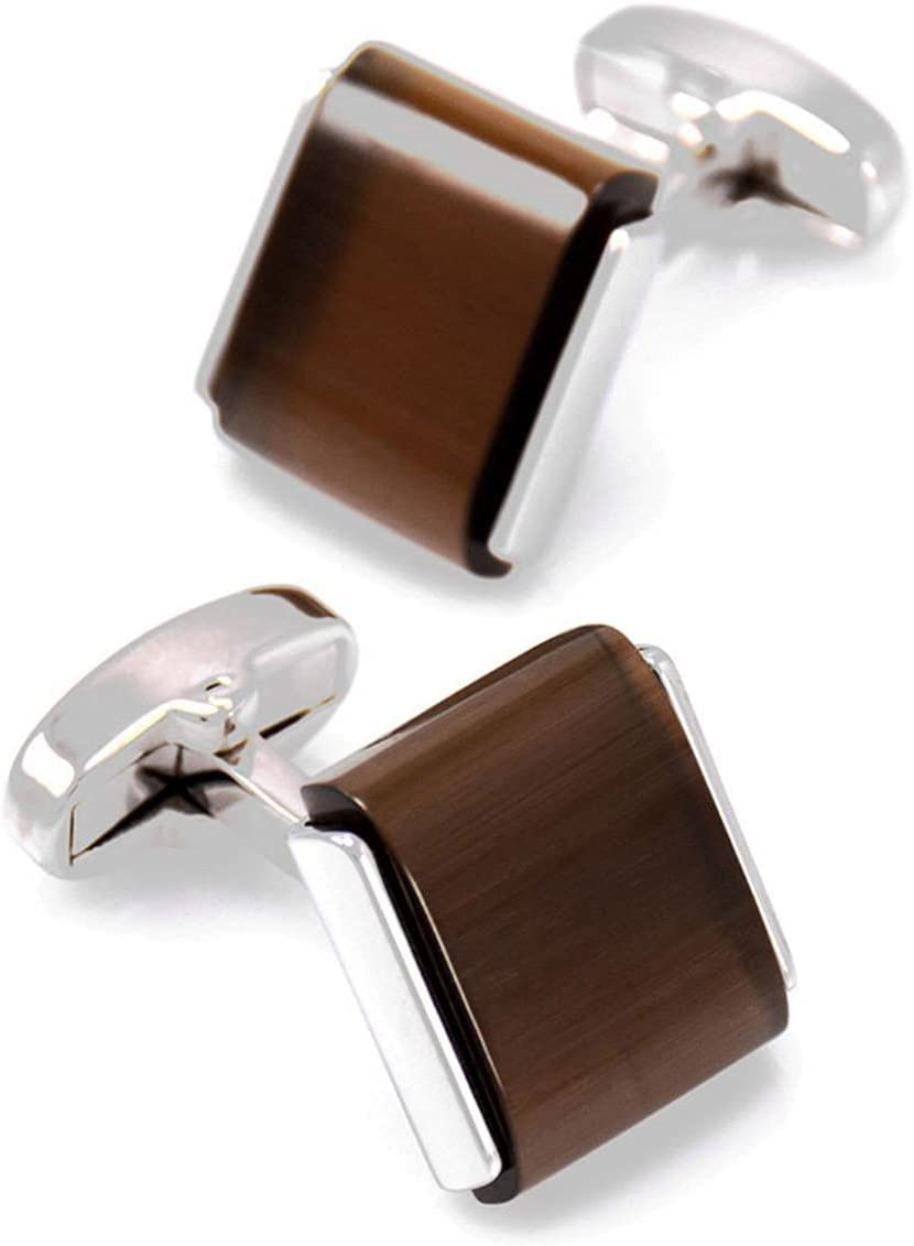 BO LAI DE Men's Cufflinks Square Inlaid Brown Opal Cuff Links Suitable for Business Events, Meetings, Dances, Weddings, Tuxedos, Formal Wear, Shirts, with Gift Boxes