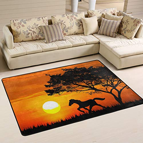 Mnsruu Silhouette Horse Sunset Alfombra Alfombra para salón Dormitorio, Tela, Multicolor, 183cm x 122cm(6 x 4 Feet)