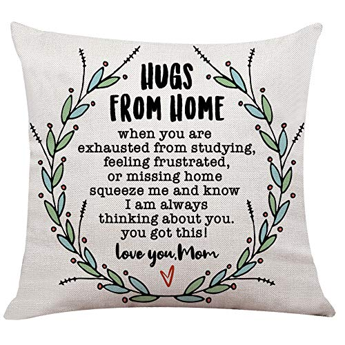 "Ihopes Rustic Inspirational Quotes Pillow Covers - Hugs from Home Pillow Case Cushion Cover for Sofa Couch Dorm Room Decor Gifts - Best Graduation/Going Away/College Gifts(18""x 18""Inch)"