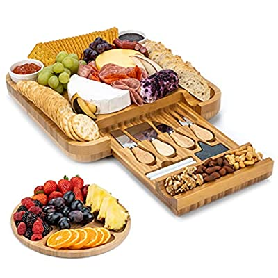 SMIRLY Cheese Board and Knife Set: 13 x 13 x 2 Inch Wood Charcuterie Platter for Wine, Cheese, Meat by