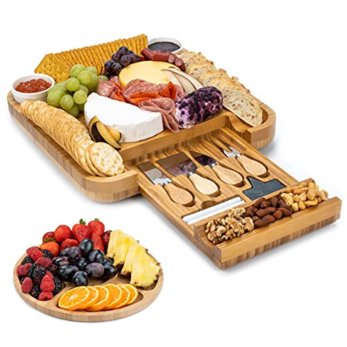SMIRLY Cheese Board and Knife Set: 13 x 13 x 2 Inch Wood Charcuterie Platter for Wine, Cheese, Meat