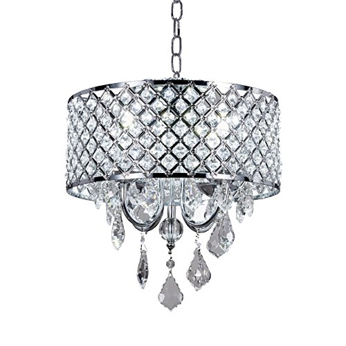 New Galaxy Chrome Round Metal Shade Crystal 4-Light Chandelier Pendant Hanging Ceiling Lighting Fixture