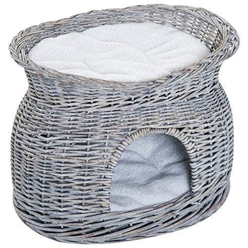 PawHut 2-Tier Wicker Cat House Elevated Pet Bed Basket Willow Kitten Tower Pet Den. Cozy Cave with Washable Cushions 56x37x40cm Grey