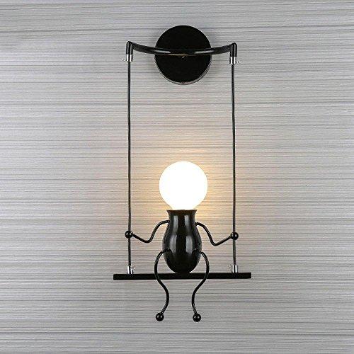 Modern Wandleuchte Kreativ Einfachheit Design Leuchten Innen Beleuchtung Kinder Lampe Wandbeleuchtung Wandlampe für Flur Korridor Wohnzimmer Schlafzimmer Dekorative E27 * 1 , Schwarz