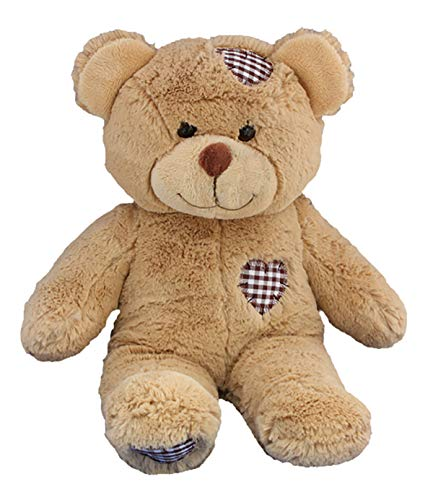 Stuffems Toy Shop Record Your Own Plush 16 inch Brown Patches Teddy Bear - Ready to Love in A Few Easy Steps