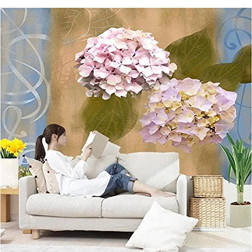 FTFTO Rénovation Mobilier Rustique Vintage Non Tissé Papiers Peints Papier Peint 3D Pour MURS Peintures Murales Florales Pourpres Salon Papiers Peints Motif Bleu 250X175Cm