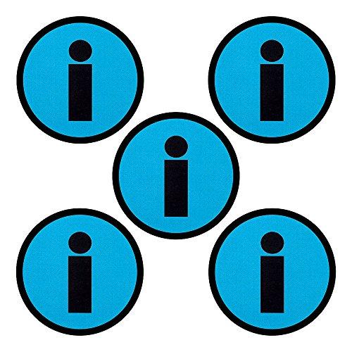 Imanes con un Símbolo de Información - Juego de 5 imanes - Diámetro 5 cm - para Pizarras Blancas y Refrigeradores