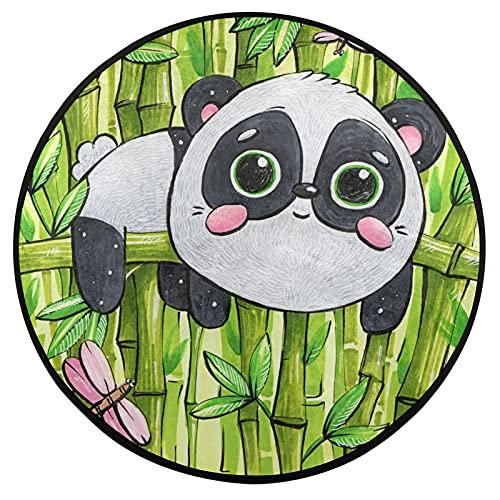 Alfombra redonda de bambú de 3 pies con diseño de panda, antideslizante, alfombra de cocina, lavable, para silla alta, dormitorio, sala de estar, estudio