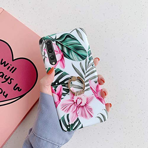 Uposao Kompatibel mit Huawei P20 Pro Hülle Silikon Ultra Dünn Handyhülle mit Ringhalter Ständer Bunt Blumen Blätter Muster Schutzhülle Weiche Silikonhülle Crystal Clear Case,Rosa