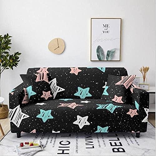 Funda elástica para sofá de 1 plaza, color estrella de cinco puntas, poliéster, spandex, para esquinero, fundas para sofá, fundas para sofá elásticas antideslizantes, funda para sofá con estampado u