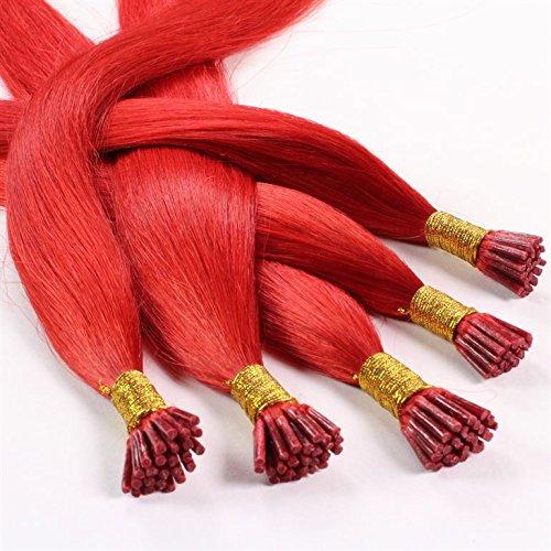 hair2heart 100 x 0.5g Echthaar Microring Stick Extensions, 60cm - glatt - #rot