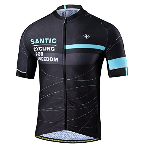 Santic Maillot Bicicleta Hombre, Maillot Ciclismo Hombre, Camiseta y Camisa de Ciclismo para Hombres con Mangas Cortas Azul EU Talla S