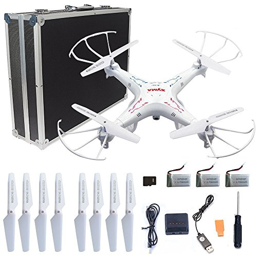 Syma X5C-1 RC Quadcopter Toys with Potable Carrying Case 3 Batteries...