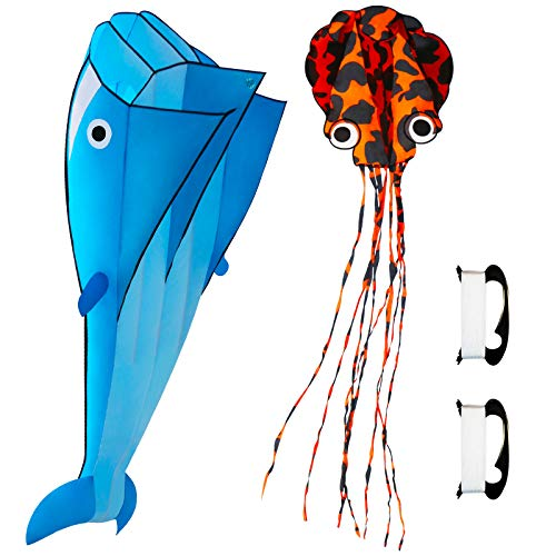Lamonty 2 Pack Kites - Large 3D Blue Dolphin Kite and Purple Spoted Octopus for Children and Adult with Long Colorful Tail String Line Accessories Easy to Soar High Outdoor Sports
