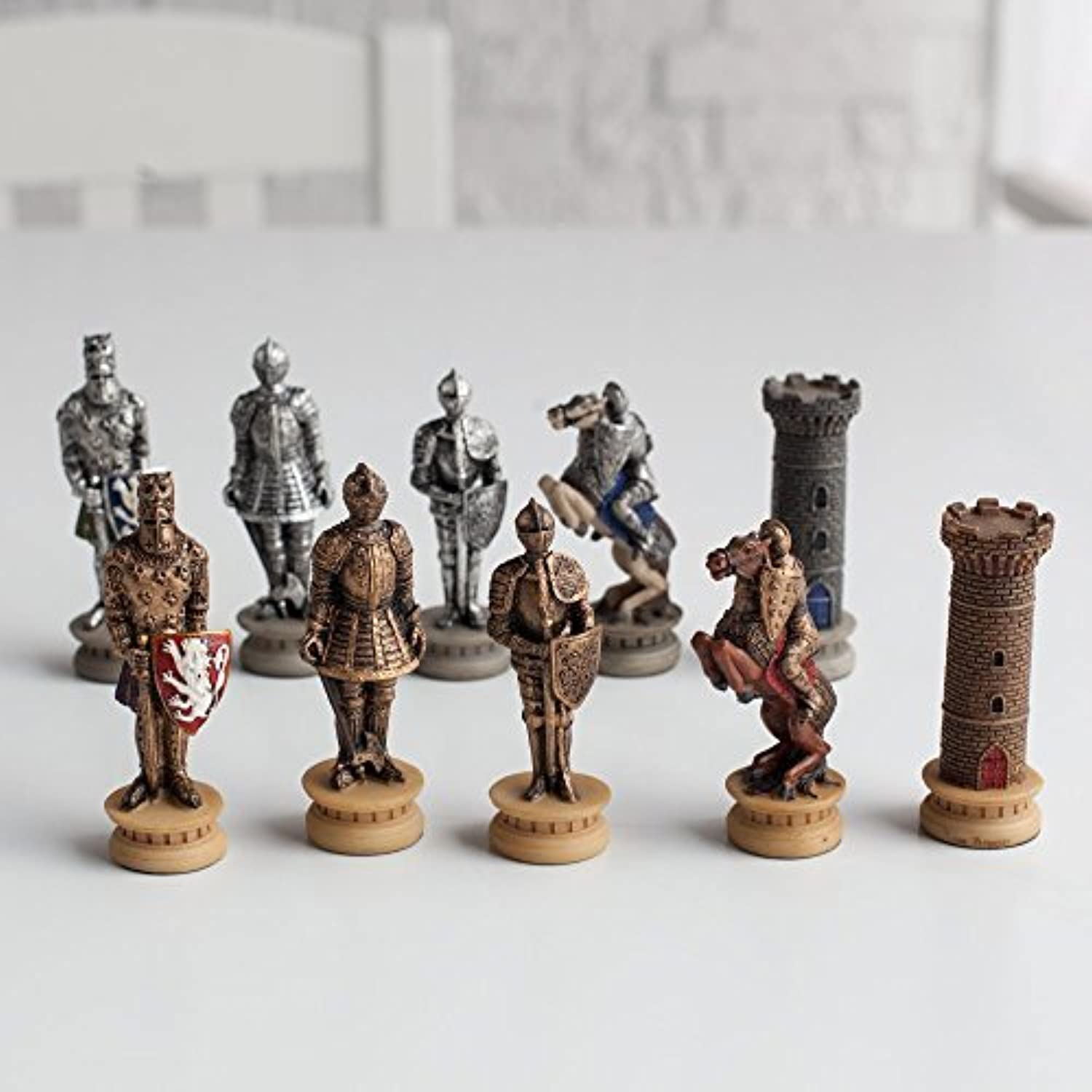 Medieval Times Armored Knights Painted Resin Chess Pieces by World Wise