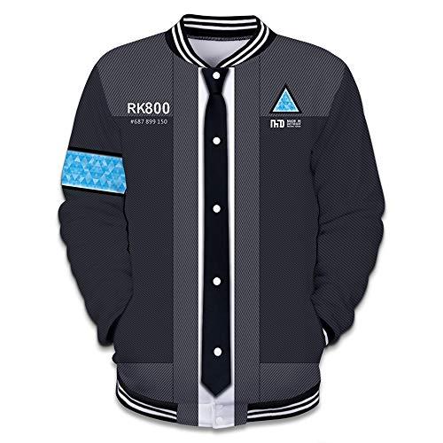 GEIUEIMAN Detroit Become Human Caída Invierno Hombre 3D Estampados Chaqueta de Béisbol Ocasionales Jacket Coat Outwear