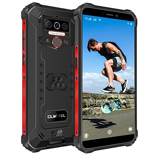 OUKITEL WP5 Pro Outdoor Handy, 4G Dual SIM IP68 Outdoor Smartphone Ohne Vertrag, 8000mAh Akku, 4GB + 64GB, Android 10 Handy Global Version 5,5 Zoll Triple Kamera, Face/Fingerprint ID (Schwarz)