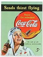 アメリカン雑貨 ブリキ看板 コカコーラ 女性パイロット cocacola Coke ブリキカンバン ティンサイン サインボード インテリア アメリカン雑貨