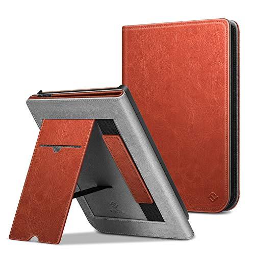 Fintie Hülle für Pocketbook Touch HD 3 / Touch Lux 4 / Touch Lux 5 / Basic Lux 2 / Color (2020) e-Book Reader - Kickstand Schutzhülle mit Kartenfach, Handschlaufe und Auto Wake/Sleep, Sattelbraun