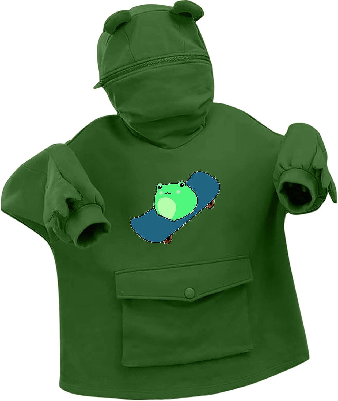 Toeava Women's Three-Dimensional Frog Skateboard Print Sweatshirt Long Sleeve Thermal Pullover Hooded Tops with Pockets